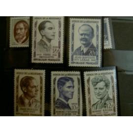 France num Yvert 1100-1104 ** MNH Heros de la Resistance Année 1957