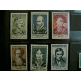 France num Yvert 1108-1113 ** MNH Célébrités Année 1957