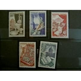 France num Yvert 970-974 ** MNH Production de Luxe Année 1954