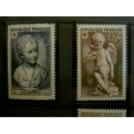 France num Yvert 876-877 ** MNH Série Croix Rouge Année 1950