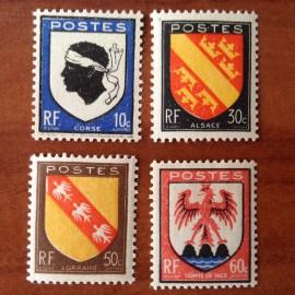 France num Yvert 755-758 ** MNH Serie Armoirie Corse alsace nice Année 1946