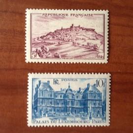 France num Yvert 759-760 ** MNH Vezelay Palais Luxembourg Année 1946