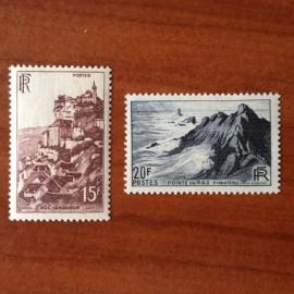 France num Yvert 763-764 ** MNH Rocamadour Raz Année 1946