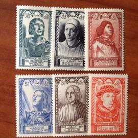 France num Yvert 765-770 ** MNH Célébrités Année 1946