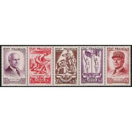 France num Yvert 576-580-B ** MNH  Année 1943