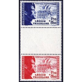 France num Yvert 565-566a ** MNH Legion tricolore Année 1942
