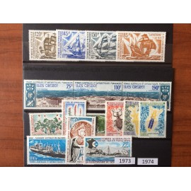 TAAF ** 1973 et 74 ANNEE COMPLETE MNH