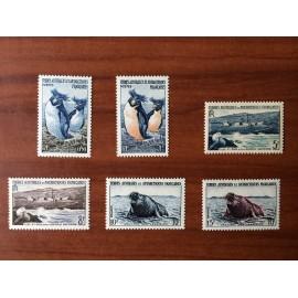 TAAF Yvert Num 2-7 Faune ANNEE 1956