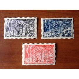 TAAF Yvert Num 8-10 Année Géophysique Internationale ANNEE 1957