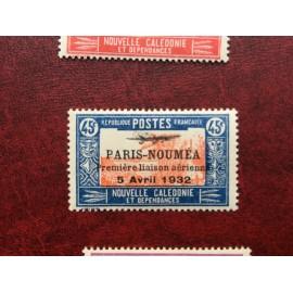 NOUVELLE CALEDONIE PA Num 14 * MH avec charniere ANNEE 1933 Paris-Noumea