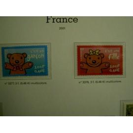 France 3377-3378 ** ours  en 2001