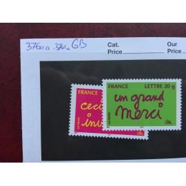 France 3760a-3761a ** Gomme brillante sans perforation Variété en 2005