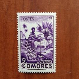 Comores 5 ** MNH Femme indigène en 1950