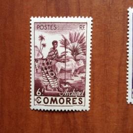 Comores 6 ** MNH Femme indigène en 1950