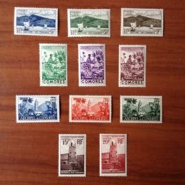 Comores  1-11 ** MNH Site serie courante en 1950