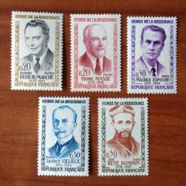 France Yvert Num 1248-1252 ** Heros de la Resistance  1960