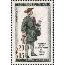 France Yvert Num 1285 ** Journee du timbre  1961
