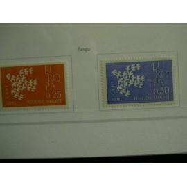 France Yvert Num 1309-1310 ** Europa  1961