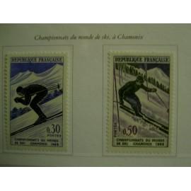 France Yvert Num 1326-1327 ** Chamonix Ski  1962