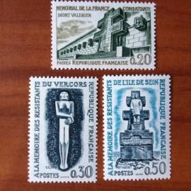 France Yvert Num 1335-1337 ** Resistance  1962