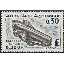 France Yvert Num 1368 ** Sous Marin  1963