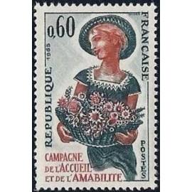 France Yvert Num 1449 ** Fleurs  1965