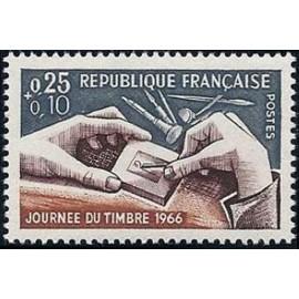 France Yvert Num 1477 ** Journee du timbre  1966