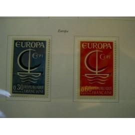 France Yvert Num 1490-1491 ** Europa  1966