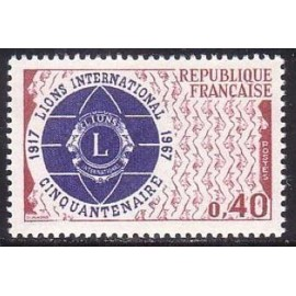 France Yvert Num 1534 ** Lions International  1967