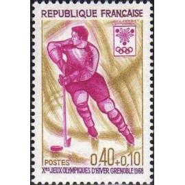 France Yvert Num 1544 ** JO Grenoble Hockey  1968