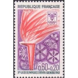 France Yvert Num 1545 ** JO Grenoble Flamme  1968