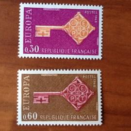 France Yvert Num 1556-1557 ** Europa  1968