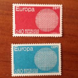 France Yvert Num 1637-1638 ** Europa  1970