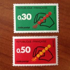 France Yvert Num 1719-1720 ** Code Postal  1972