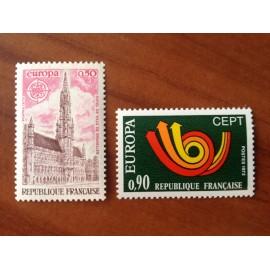 France Yvert Num 1752-1753 ** Europa  1973