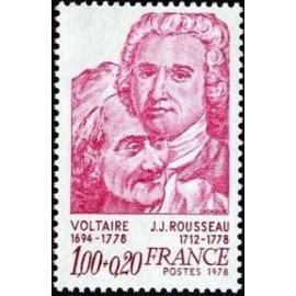 France Yvert Num 1990 ** Voltaire et rousseau  1978