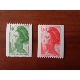 France Yvert Num 2191-2192 ** Roulette Liberté  1982