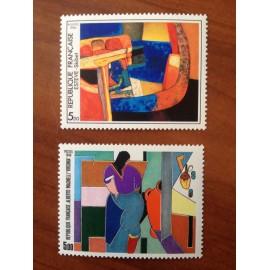 France Yvert Num 2413-2414 ** tableau Magnelli  1986