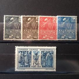 France num Yvert 270-274 ** MNH Exposition coloniale Paris Année 1931
