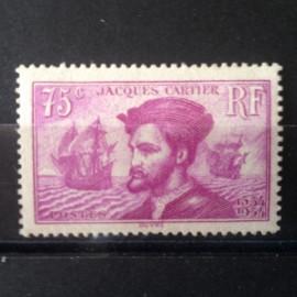 France num Yvert 296 ** MNH Jacques Cartier Canada Année 1934