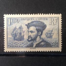 France num Yvert 297 ** MNH Jacques Cartier Canada Année 1934