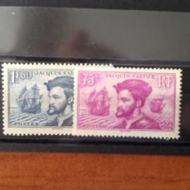 France num Yvert 296-297 ** MNH Jacques Cartier Canada Année 1934