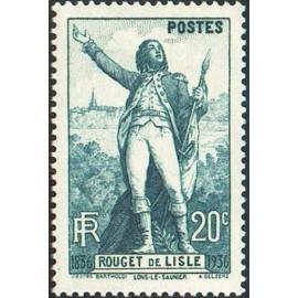 France num Yvert 314 ** MNH Claude Rouget de Lisle Marseillaise Année 1936