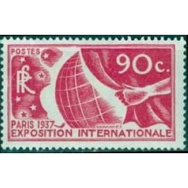 France num Yvert 326 ** MNH Exposition internationnal de Paris Année 1936