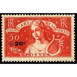 France num Yvert 329 ** MNH Chomeurs intellectuels Année 1936