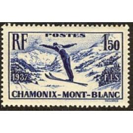 France num Yvert 334 ** MNH Ski à Chamonix Année 1937