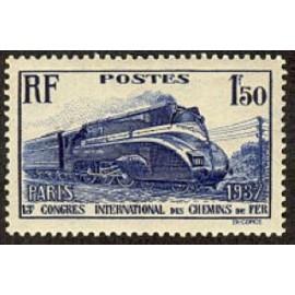 France num Yvert 340 ** MNH Locomotive caréné Année 1937