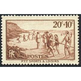France num Yvert 345 ** MNH PTT plage Année 1937