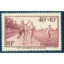 France num Yvert 346 ** MNH PTT Sports course Année 1937
