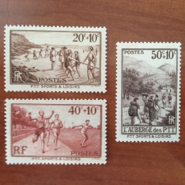 France num Yvert 345-347 ** MNH Serie PTT Vacances Année 1937